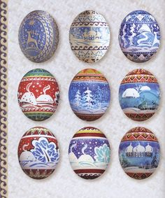 "Beautiful landscapes pysanky. A note on pronunciation, despite what you may have heard on television, a supplier of pysanky tools or from an instructor in a local class, ""Pysanka"" is correctly pronounced ""Pih-sahn-kah""  with the plural ""Pih-sahn-kih"". All with short vowels.  The term ""pysanky"" is not, never was, nor will it ever be correctly pronounced ""pie-SAN-kee or pizz-an-ki"""