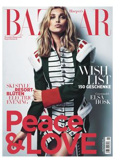 Elas Hosk wears a Burberry ceremonial coat on the December cover of Harper's Bazaar Germany. Photographed by Regan Cameron and styled by Kerstin Schneider