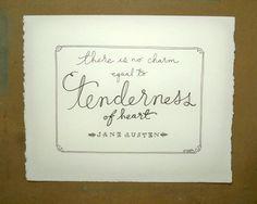 Tenderness of Heart - Jane Austen by RooneyHandLettering on Etsy, $12.00