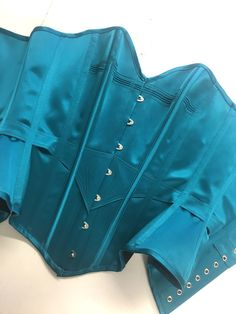 Siren corset in 'blue grass' silk by Julia Bremble