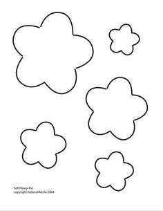 Atelier - Boutique D' Caroline: Dicas e moldes Flower Applique Patterns, Felt Patterns, Felt Flowers, Fabric Flowers, Paper Flowers, Art Template, Flower Template, Templates, Felt Crafts