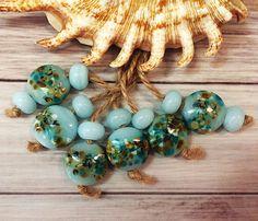 Handmade Lampwork Glass Beads From Murano Glass Blue Color Round 14 Pcs #HandmadeLampworkBeads #Lampwork