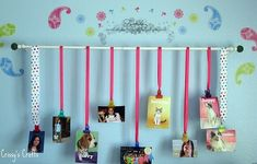 Curtain rod, frames, ribbon, paper & letter stickers!!