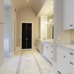 Amazing gray master bathroom with warm gray paint and gray barrel bathroom ceiling. Marble Countertops Bathroom, Marble Bathroom Floor, Bathroom Spa, Grey Bathrooms, Bathroom Flooring, Bathroom Ideas, Master Bathrooms, Bathroom Cabinets, Bathtub Alcove