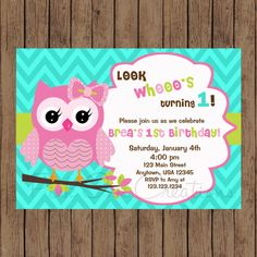 18 Best Invitations Images On Pinterest Owl Birthday Invitations