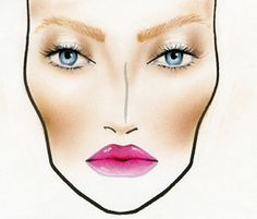 Bronze skin with pop of lip. Face chart format