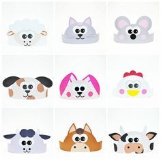 10 Farm Animals Paper Crowns Set. DIY Papaer Hats by ShapaLapa