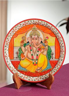 Divinely painted Lord Ganesh Plate