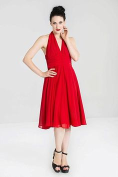 Special order the Hell Bunny Hell Bunny Monroe Dress party dress in red online in Australia Red Fashion, 1950s Fashion, Body Measurement Chart, Full Circle Skirts, Red S, Halter Neck, Marilyn Monroe, Vintage Inspired, Bodice