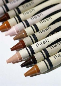 "Another main topic we talked a lot about in class was being bias and how to remove a bias from a statement. I think this picture shows how there are biases in the smallest aspects of everyday life. I remember as a kid coloring and the was always the pencil crayon that was ""skin tone"" but now looking back that was a bias statement because everyone has different skin colors. -J.Kuik"