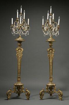 1178: A pair of Louis XIV style ormolu torcheres :g  Lot 1178