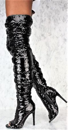Style Name: Heel: Inches Style: Thigh High Boots Material: Sequin Thigh High Boots Heels, Black Heel Boots, Sexy Boots, Black High Heels, Heeled Boots, Black 7, Over The Knee Boot Outfit, Stylish Boots, Fashion Boots