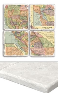 """California Map Coaster Set    An impressive collection of marble coasters featuring a beautifully colored map of California.   Each California coaster measures 4"""" x 4"""", and is constructed of high quality, Botticino tumbled marble.  A perfect gift for weddings, anniversaries, business gifts and any other special event in your life.  Best of all, these California coasters are artfully constructed in the USA!     Botticino Tumbled Marble  Each Tile Measures 4""""x4"""""""