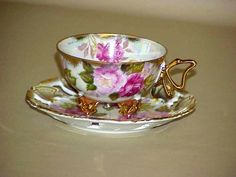 Royal Sealy 3 Footed Butterfly Handle Teacup Reticulated Tea Cup And Saucer