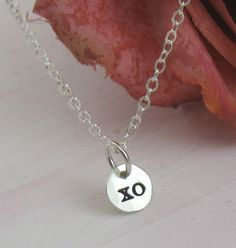 Silver necklace  XO charm  sterling silver by KathrynRiechert, $20.00