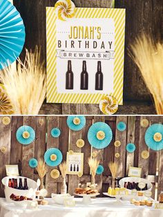 Backyard Beer Bash {Adult Birthday} with twine wrapped beer bottles, solo cup trophies, Guinness & Blue Moon cupcakes, & fresh kettle corn!