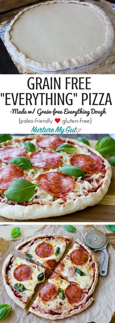 Best Grain Free Everything Pizza Recipe! This easy homemade grain free pizza crust is made from blanched almond flour, tapioca flour and potato starch. Top it with organic mozzarella or Vromage Artisanal Vegan cheese, pepperoni and fresh basil for a classic flavor that brings you back to your childhood. Never miss out on pizza again! Gluten free, grain free and dairy free option.