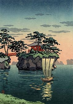 Japanese Art Print - Godaido Shrine, Matsushima by Tsuchiya Koitsu Japanese Art Modern, Japanese Artwork, Japanese Painting, Japanese Prints, Vintage Japanese, Japanese Woodcut, Art Asiatique, Japanese Illustration, Art Japonais