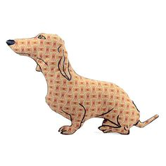 dachshund dog shaped pillow softie red brown by pattihaskins, $35.00