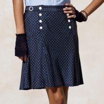 love the button detail on this pin dot skirt