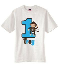 Blue Boy Mod Monkey T-Shirt or Onesie Personalized with name and custom birthday number www.cutiepatootiecreations.com! #bluebrownmodmonkeyshirt