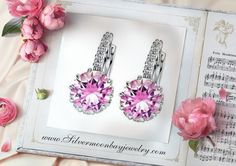 Swarovski & Pink Ice in White Gold. www.Silvermoonbayjewelry.com #pinkice #sparkle #jewelry