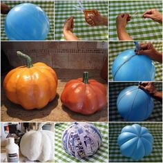 Make your own paper mâché pumpkins with a balloon, string, mod podge, newspaper and paint. Blow up a balloon to the size you want. Make sure you don't blow it up too much. Tie the balloon's end. Then...