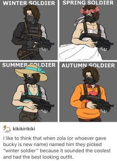 """They had to call him the autumn soldier instead of the """"fall"""" soldier so he wouldn't remember falling from that train."""