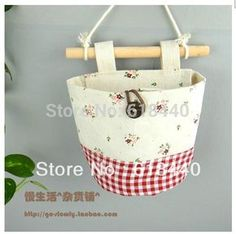 Pastoral Vintage Style Zakka Cotton Fabric Storage bag hang Bags Wardrobe cloth bag Door After Wall Bathroom Home organizer