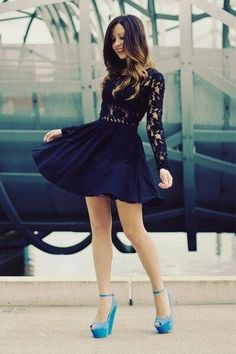 Black Dress and Blue Shoes