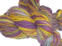 Merino DK Yarn - Handspun and Hand Dyed in Purple, Yellow and Gray - Navaho Technique