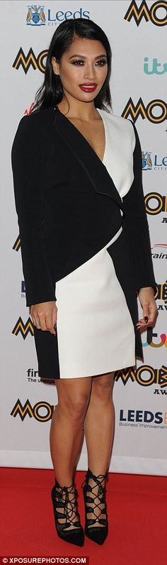 Vanessa White wears a monochrome wrap dress to the Mobo Awards 2015 Peplum Dress, Wrap Dress, Side Parting, White Highlights, How To Slim Down, Her Hair, Monochrome, Red Carpet, Awards