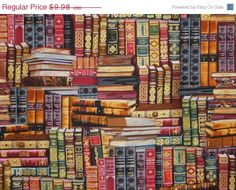 Fabric by the yard. Library Books Print in Reds and by fabricsandtrimmings #books_fabric