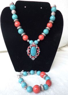 Turquoise red and sliver jewelry set by MysticalGypsies on Etsy, $22.00