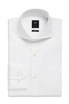daf10e2d BOSS HUGO BOSS 'Christo' Slim Fit Spread Collar Italian Stretch Cotton-Blend  Tailored Dress Shirt