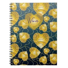 Golden Hearts Pattern Notebook - golden gifts gold unique style cyo