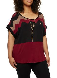 Plus Size Chevron Color Block Top with Necklace - 3912058754148