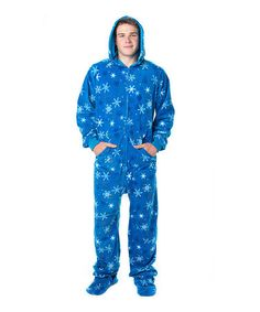 Take a look at this Blue Snow Day Hooded Footie Pajamas - Adults by Footed Pajamas on #zulily today!