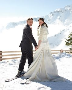Love the idea of skiing in a wedding dress...