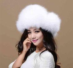 78cb63014979c6 Women's Winter Warm Hat Real Genuine White Fox Furs Ear Flaps Bomber Russian  Ushanka Cossack Trapper Furry Ski Aviator Beanie Cap