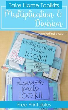 Multiplication and Division Practice Free math facts take home kits to help your upper elementary students master their multiplication and division facts, without taking up classroom time, Multiplication And Division Practice, Math Division, Math Multiplication, Maths, Math Fact Practice, Math Tutor, Teaching Math, Teaching Ideas, Math Resources