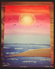 Sea side sunset Sea Side, My Arts, Sunset, Painting, Sunsets, Painting Art, Paintings, Painted Canvas, The Sunset
