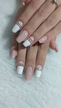 69 Trendy Nails French Acrylic Tips Yellow Nail Art, White Nail Art, Black Nail Designs, Simple Nail Art Designs, Acrylic Nails, Gel Nails, Bright Nail Polish, Beige Nails, Nails Today
