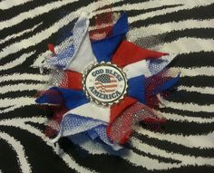"""6.99$  Buy now - http://viein.justgood.pw/vig/item.php?t=5sw7m4w47343 - Handmade Bottlecap Patriotic God Bless America Blue White Red 4 """" Hair Bow Clip"""