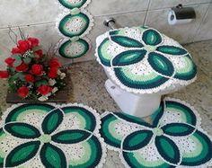 Jogo de Banheiro de Crochê Flor