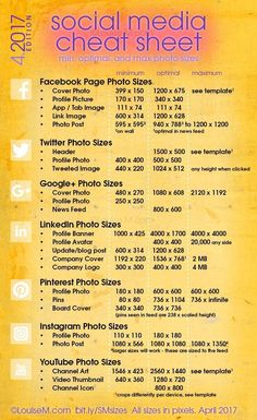 Updated! Social Media cheat sheet with image sizes for Facebook, Twitter, Google+, LinkedIn, Pinterest, Instagram, YouTube. Click to blog for your free printable! And more social media marketing tips for your small business. #videomarketingtips