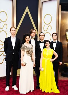 Arcade Fire at the 86th Academy Awards! (Richard Reed Parry, Régine Chassagne, Win Butler, Will Butler, Will's wife Jenny Shore and Owen Pallett)