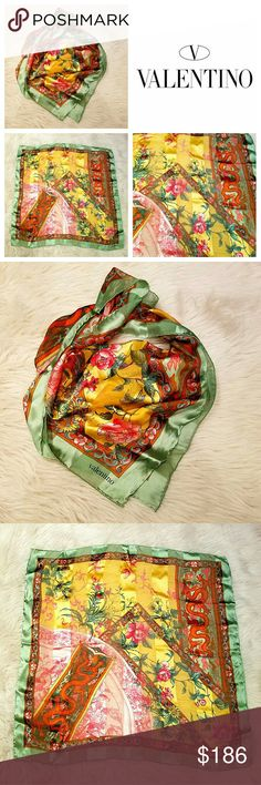 Exquisite Vintage VALENTINO Asian Dragon Scarf This Scarf by Valentino is Amazing! The Prettiest Asian Dragon and Floral Design! Made in Italy of 100% Silk in alternating stripes of silk and silk Chiffon! Hand rolled edges. Pre-owned in great condition, no tears, holes or stains. Authentic of course darling! Valentino Accessories Scarves & Wraps