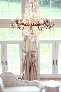 The Adventures of Elizabeth: 2 drapes tied together - what a great look for tall windows.