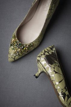 This is my parents' 70's Caesar Salad brocade sectional couch, reborn as shoes.  It must have lived a good first life...